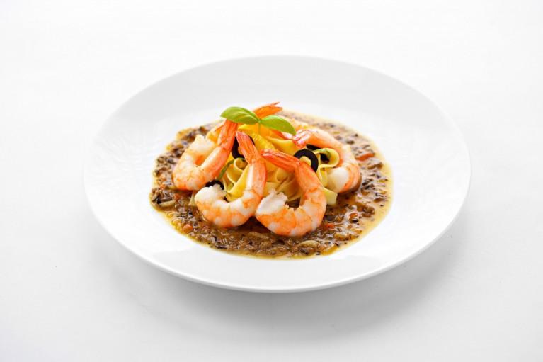 HS Shrimps mit Orangenudeln&Olivenjus