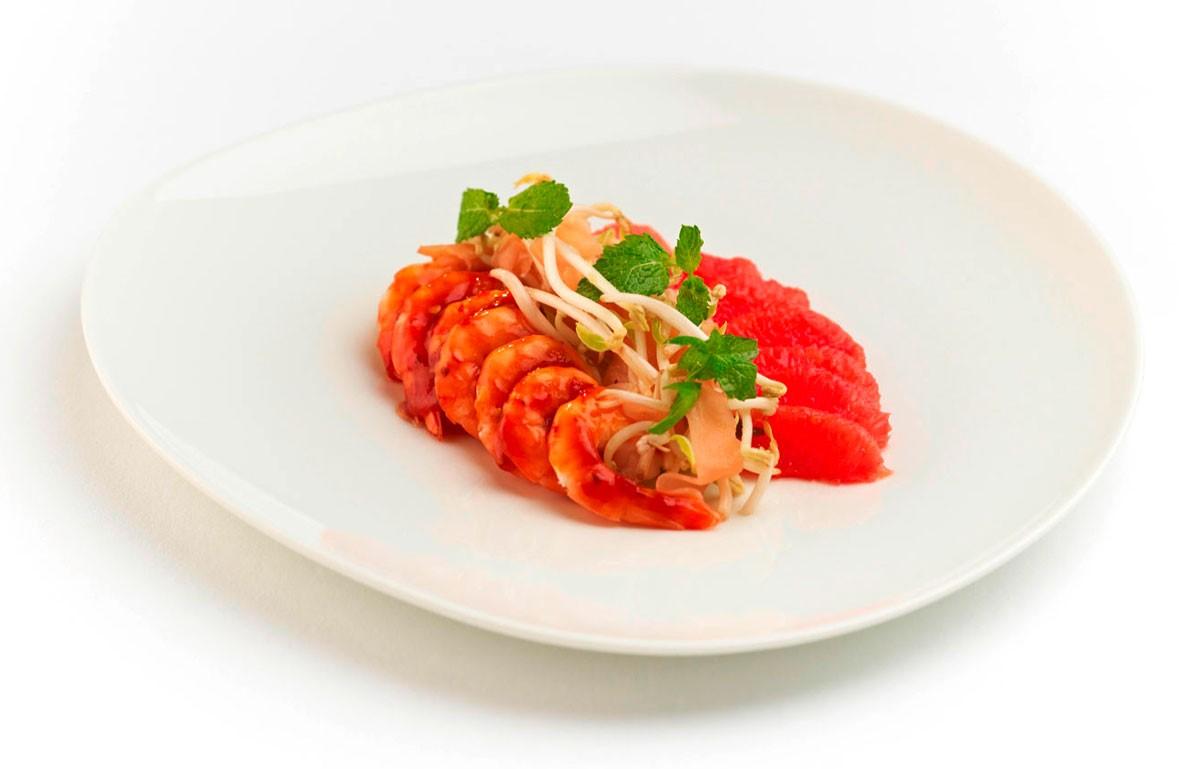 Garnelen Salat mit Pomelo